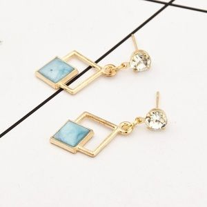 🆕 Diagonal Drop Earrings in Pink, Blue and White